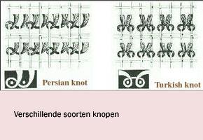 In dit voorbeeld 2 soorten knopen voor het maken van een kleed.