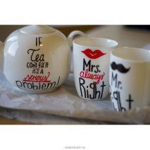 beschilder porcelein servies met edding markers