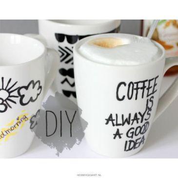 koffieservies decoreren met edding porseleinmarkers