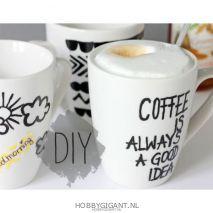 koffie mokken beschilderen met porselein markers van edding