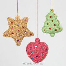 5 Kerstfiguren versierd Styropor
