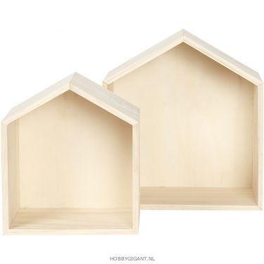 houten wandkastjes, huis vorm